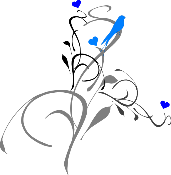 Heart and bird clipart jpg black and white stock Blue Bird On A Vine Clip Art at Clker.com - vector clip art online ... jpg black and white stock