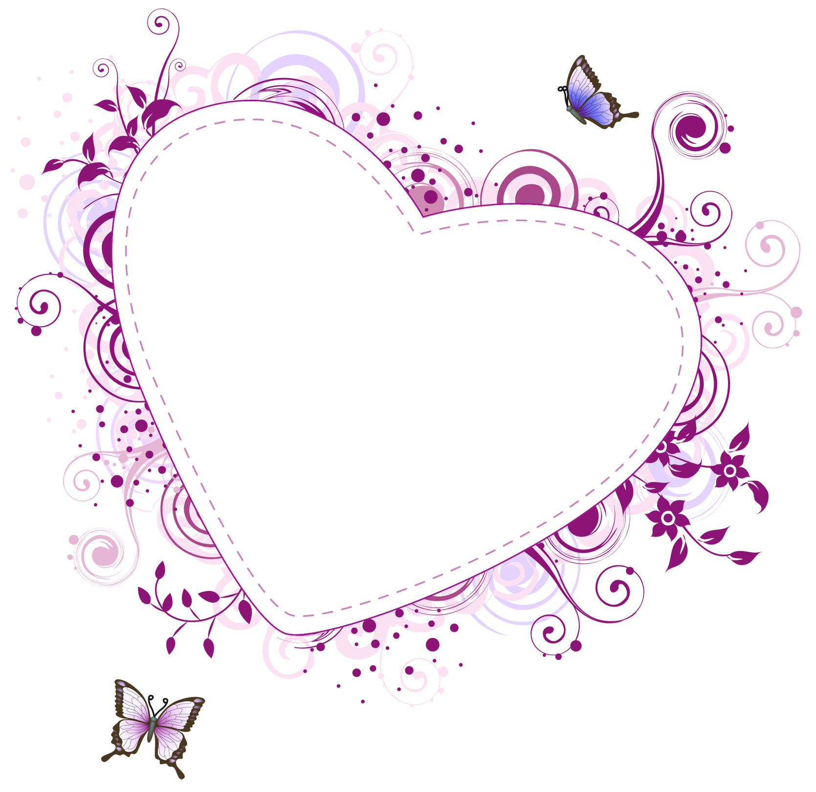 Heart and butterfly clipart svg freeuse download Pink Heart Transparent Frame | Marcos de fotos | Pinterest | Clip art svg freeuse download