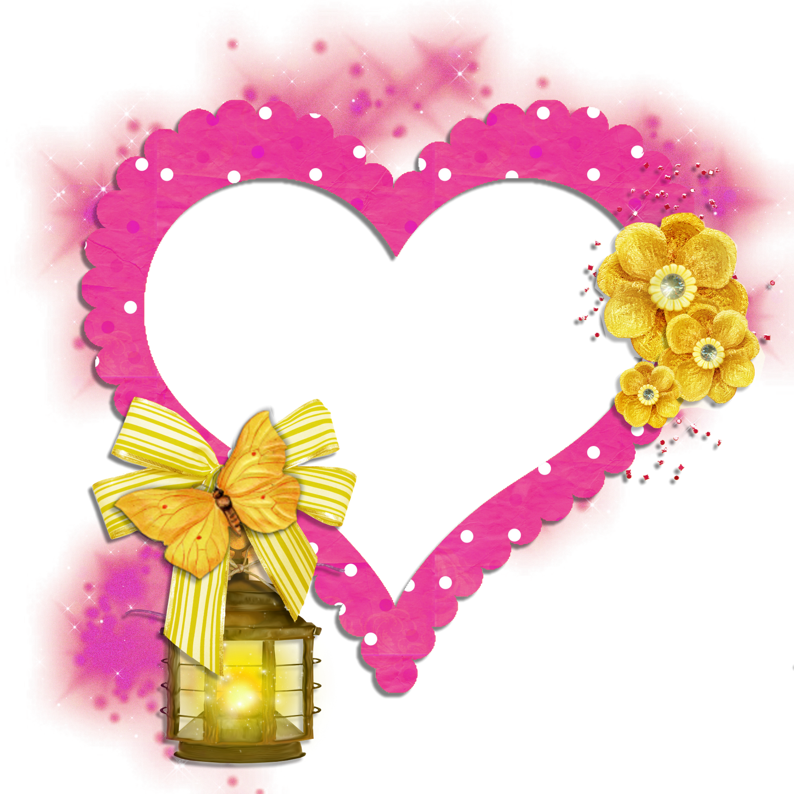 Heart butterfly clipart jpg transparent library Transparent Frame Pink Heart with Yellow Butterfly Flowers and Lamp ... jpg transparent library