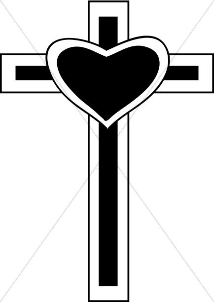 Heart and cross black and white clipart graphic free Heart on Cross | Cross Clipart graphic free