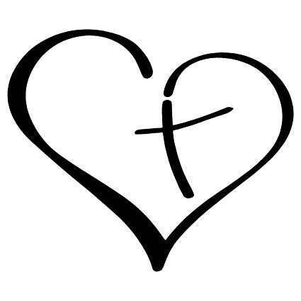 Heart and cross black and white clipart library Amazon.com: Heart with Cross in Center Christian Decal ... library