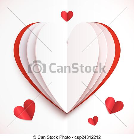 Heart artwork clipart image Vector Clip Art of Red and white folded paper vector heart - Red ... image