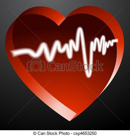 Heart artwork clipart banner transparent stock Vector Clipart of Heart Monitor Pulse - An image of a 3d heart ... banner transparent stock
