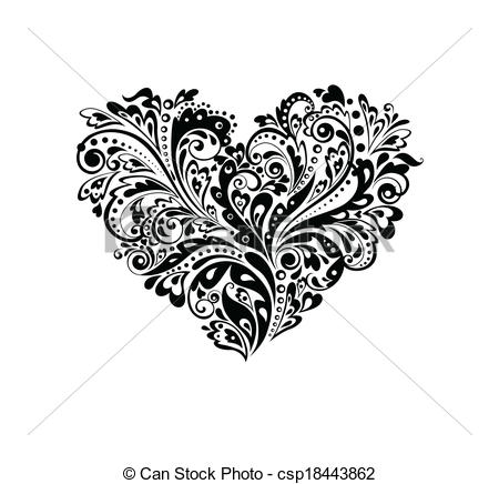Heart artwork clipart royalty free Clip Art Vector of Decorative heart shape (black and white ... royalty free