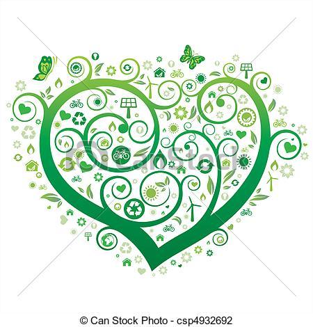 Heart artwork clipart image freeuse stock Vector Illustration of green heart illustration,environment icon ... image freeuse stock