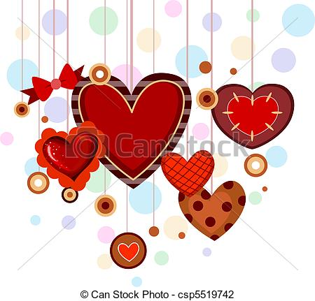 Heart artwork clipart graphic library download Clip Art of Heart Strings - Illustration of Hearts with Different ... graphic library download