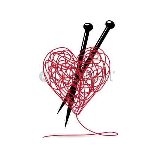 Heart ball of yarn clipart clip art royalty free stock Stock Vector - Vector sign ball of yarn, heart shaped. knitting tools.  making l clip art royalty free stock