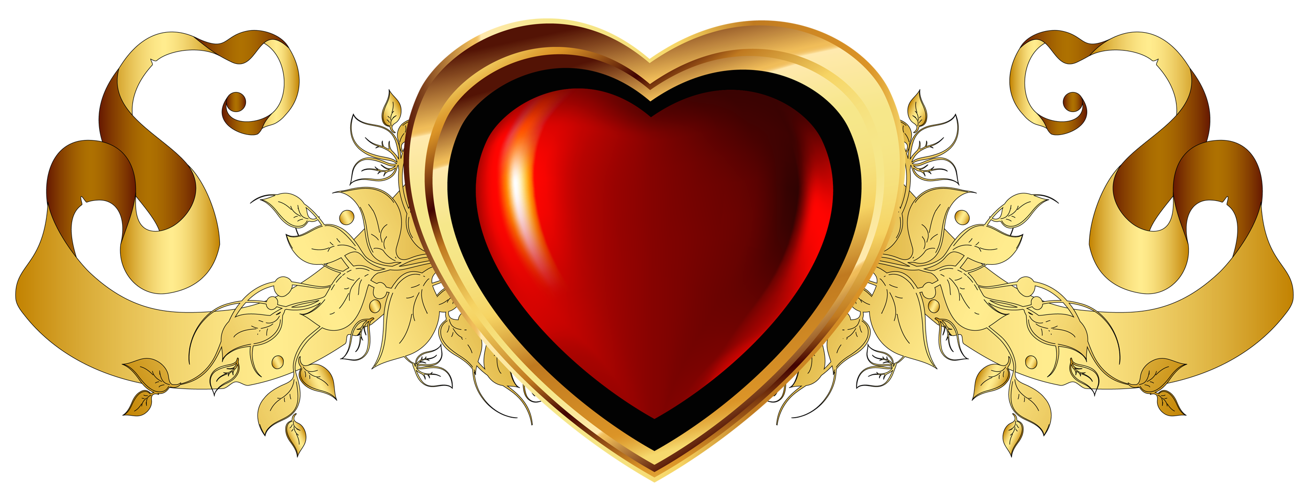 Heart peace sign and crown clipart png library Large Red Heart with Gold Banner Element Clipart | HEARTS & BOXES ... png library
