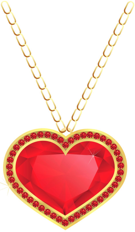 Heart chain clipart image library library Red and Gold Heart Pendant PNG Clipart | Gallery Yopriceville ... image library library