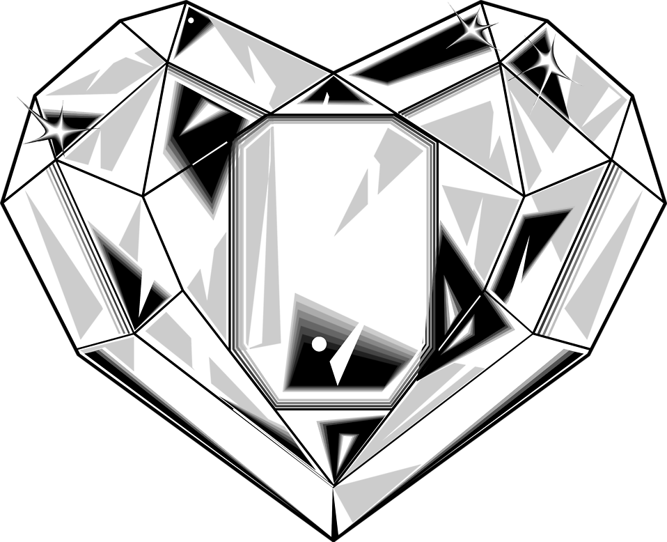 Heart clipart black and white free png freeuse library Diamond | Free Stock Photo | Illustration of a heart shaped diamond ... png freeuse library