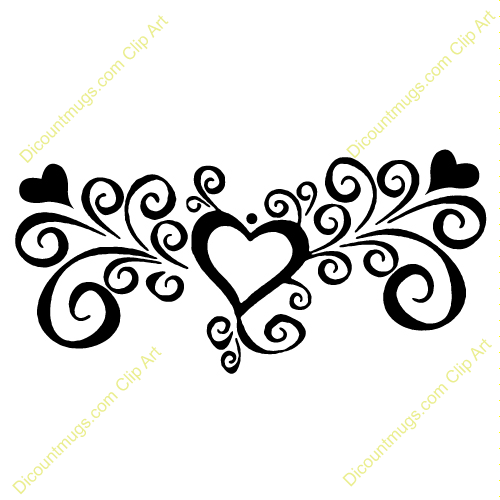 Heart clipart designs vector black and white Elegant Swirl Designs Clip Art | Clipart 12054 Heart with ... vector black and white