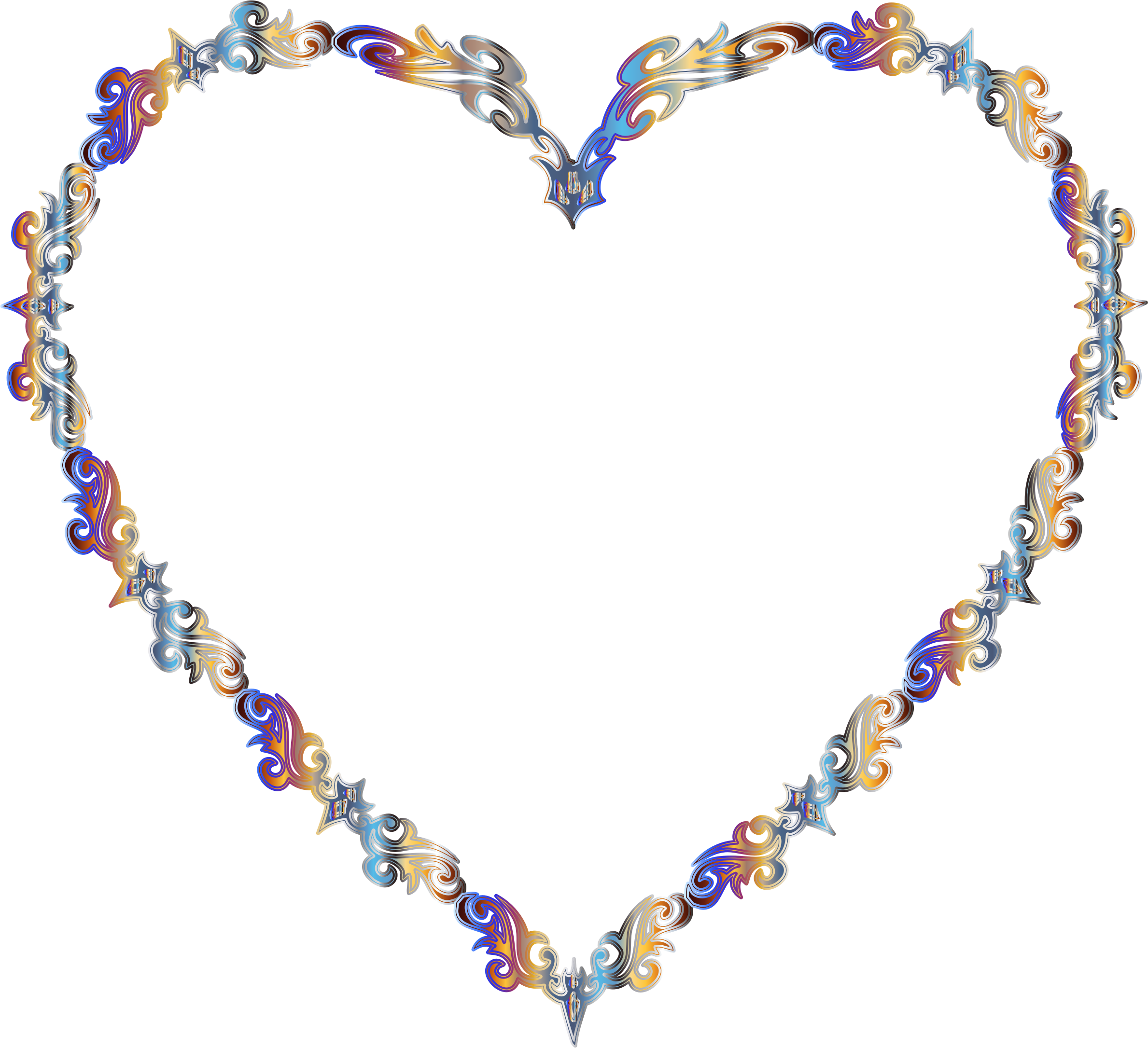 Heart clipart fancy jpg freeuse Clipart - Colorful Fancy Decorative Line Art Heart 2 jpg freeuse