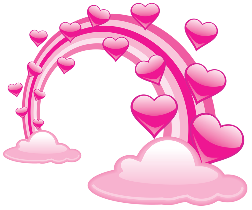 Heart cloud clipart svg freeuse stock Pink Valentine Clouds With Hearts and Pink Rainbow PNG Clipart ... svg freeuse stock