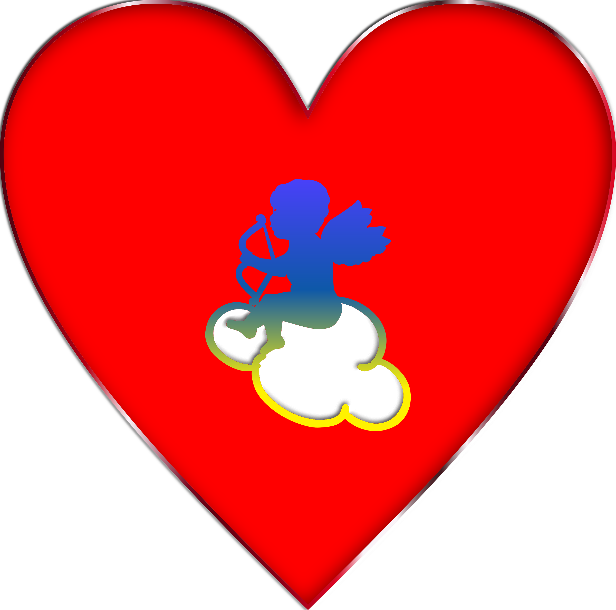 Heart cloud clipart jpg library stock Clipart - Cupid Heart Cloud Enhanced jpg library stock