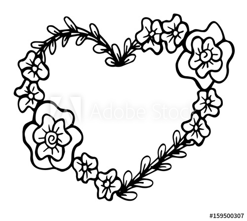 Heart decorative ornaments clipart black and white royalty free download Decorative love frame composition with hearts, flowers ... royalty free download