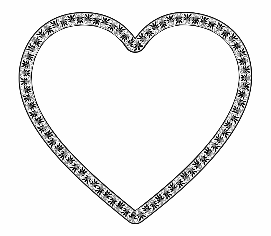 Heart decorative ornaments clipart black and white svg free Decorative, Frame, Heart, Ornamental, Flourish, Border ... svg free