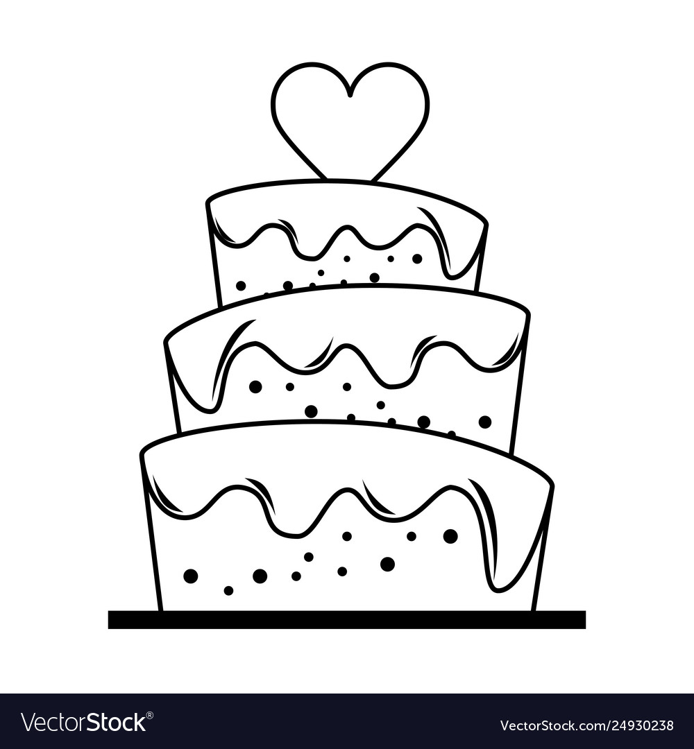 Heart desserts clipart black and white image stock Wedding cake with heart cartoon in black and white image stock