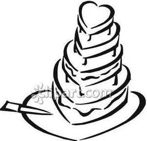 Heart desserts clipart black and white banner freeuse download Black and White Heart Shaped Wedding Cake - Royalty Free ... banner freeuse download