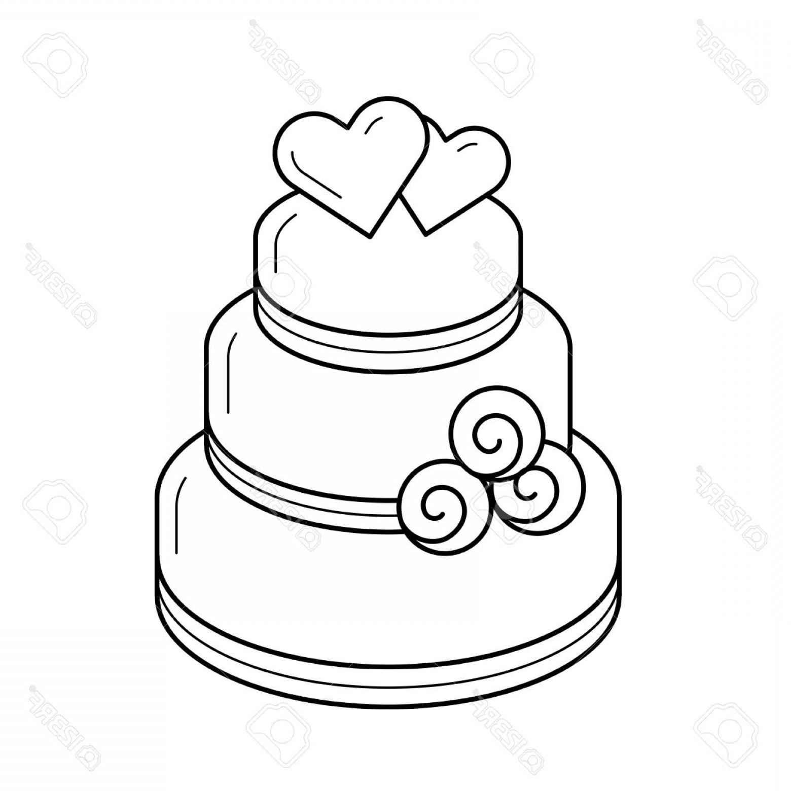 Heart desserts clipart black and white jpg transparent stock Photostock Vector Wedding Cake Vector Line Icon Isolated On ... jpg transparent stock