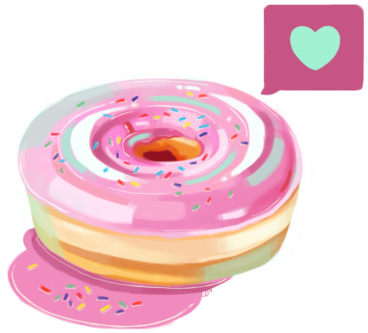 Heart donut clipart graphic transparent stock Here's the .png of the Pink Frosted Heart Donut! Enjoy a see-through ... graphic transparent stock