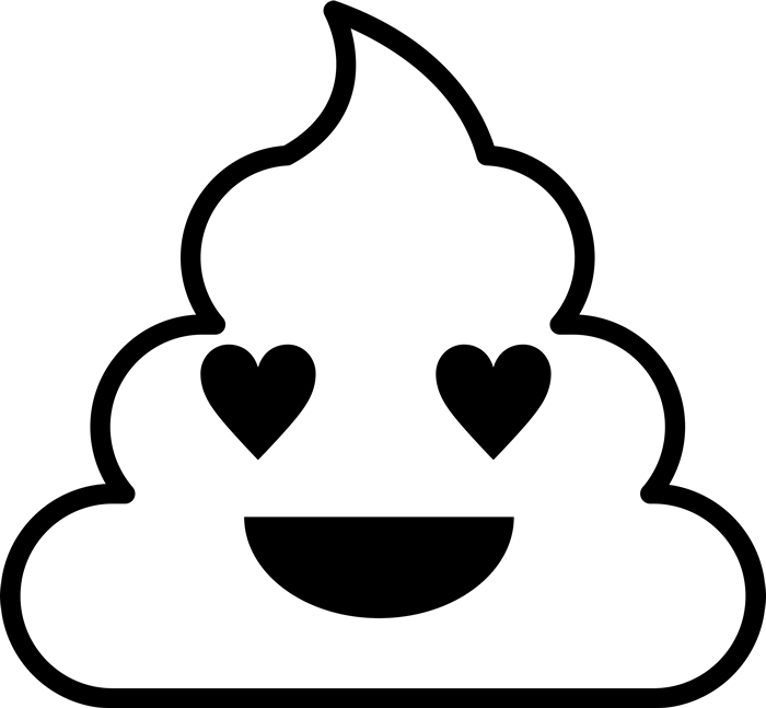 Heart eyes clipart black and white svg royalty free download Smiling With Heart Eyes Poop Emoji Rubber Stamp | Emoji Stamps ... svg royalty free download