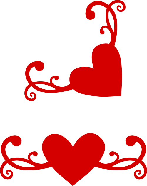 Heart filigree clipart clip art black and white stock Another flourish heart with matching corner svg | Images By Heather ... clip art black and white stock