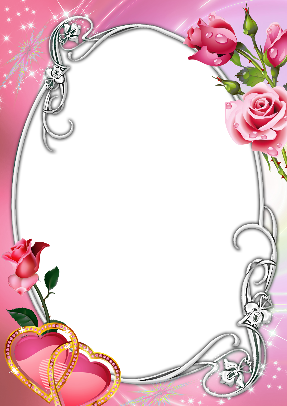 Heart frame clipart png black and white stock Pink Transparent Frame with Roses and Hearts | Photo Frames ... png black and white stock