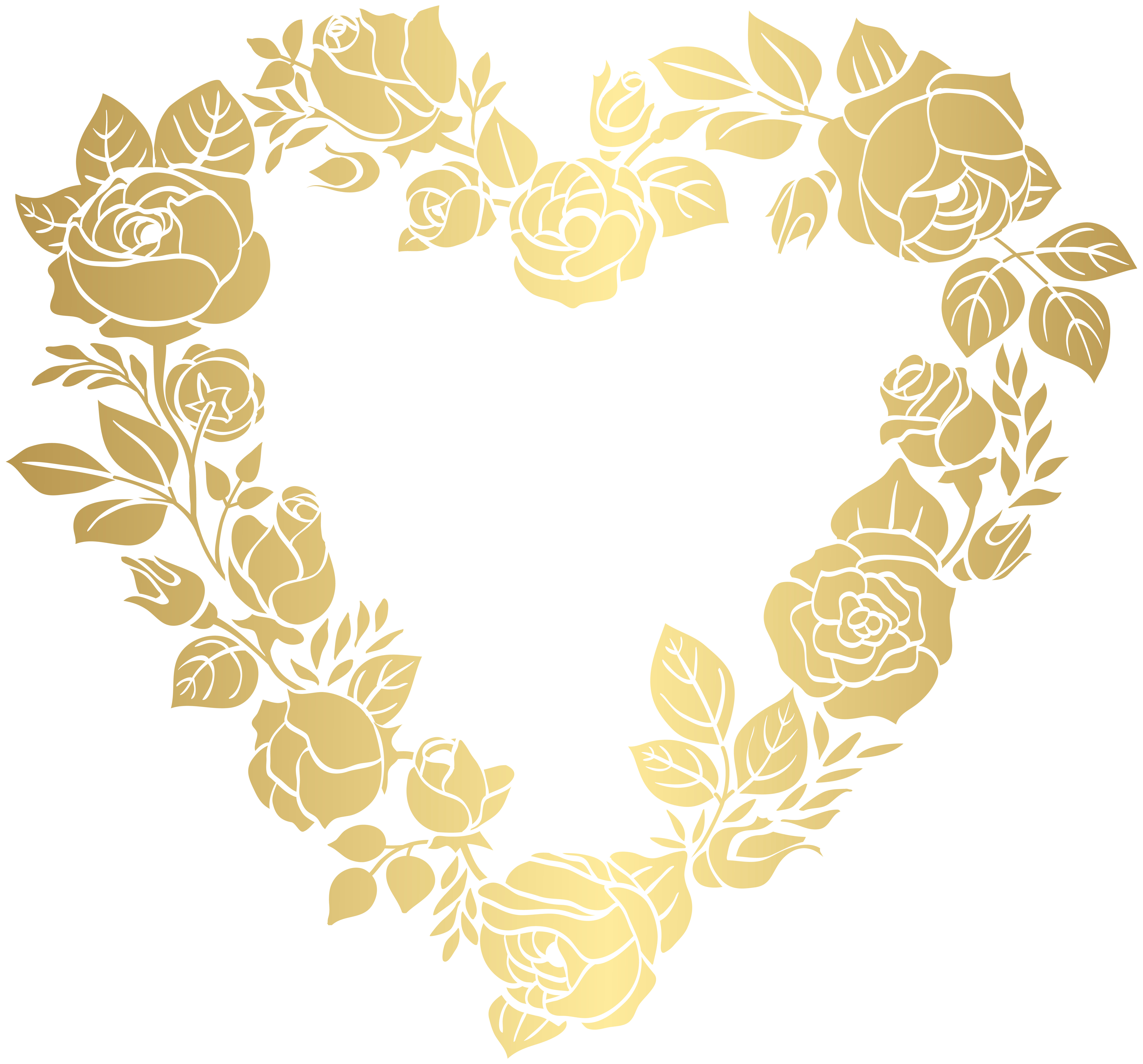 Heart leaves clipart clip free library Floral Golden Heart Border Frame PNG Clip Art | Gallery ... clip free library