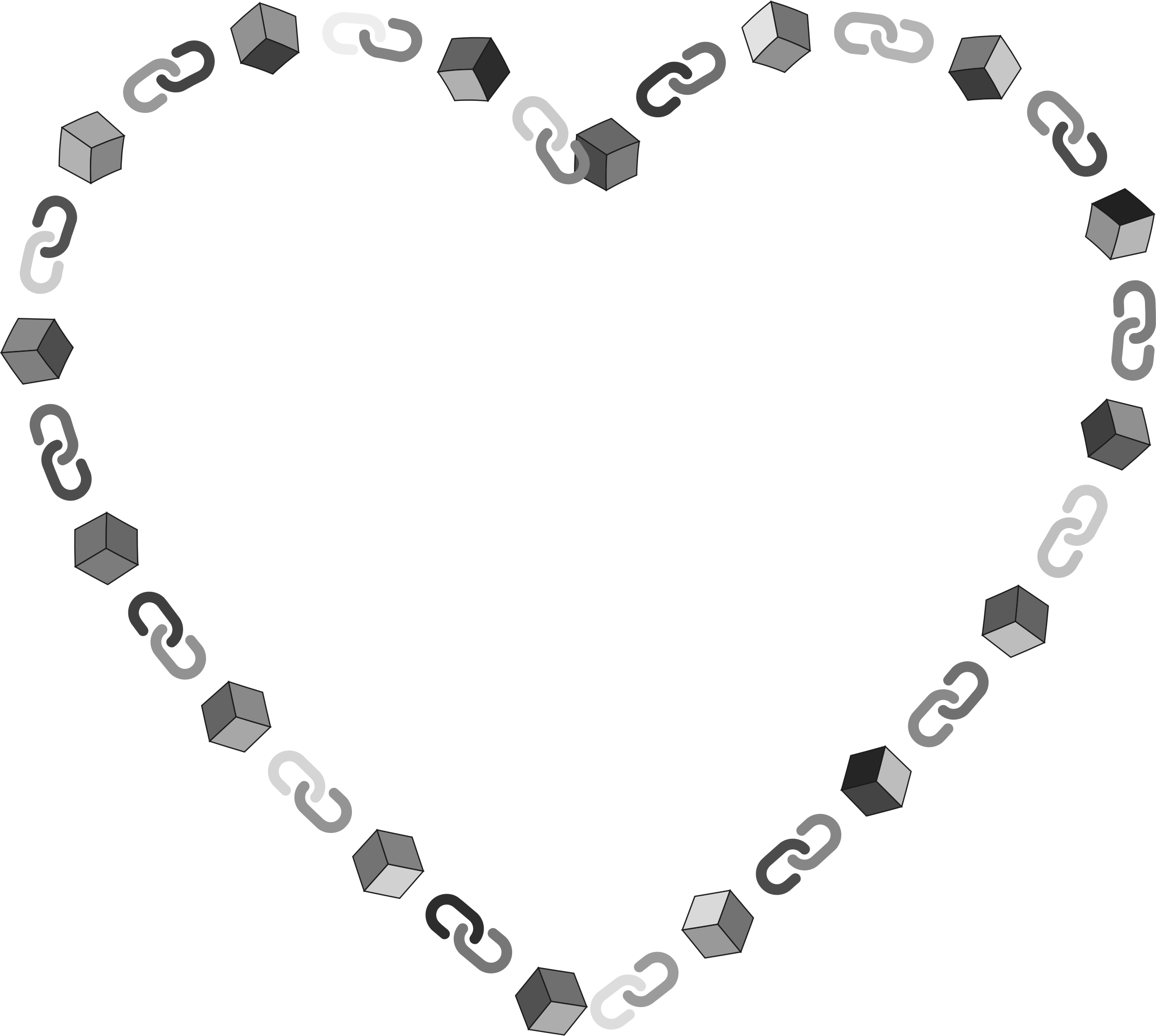 Heart money clipart black and white Clipart - Blockchain Heart black and white