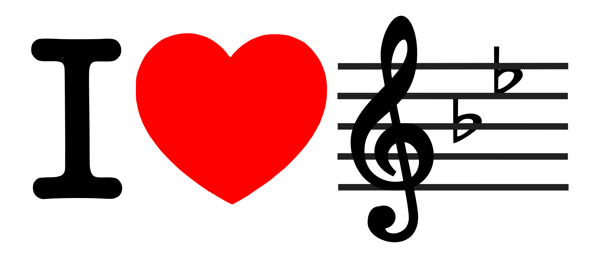 Heart music clipart black and white stock Clipart - I love music (I heart Bflat) black and white stock
