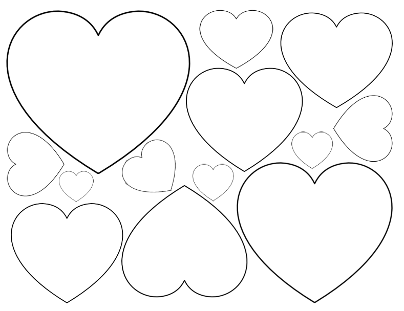 Heart outline clipart multiple sizes png free library Free Printable Heart Templates – Large, Medium & Small Stencils to ... png free library
