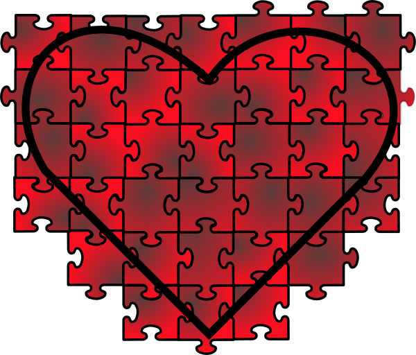 Heart puzzle clipart graphic royalty free library Heart Puzzle With Red Black Gradient Clip Art at Clker.com - vector ... graphic royalty free library