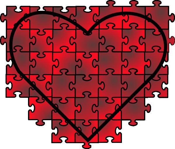 Puzzle heart clipart image transparent Heart Puzzle With Red Black Gradient Clip Art at Clker.com - vector ... image transparent
