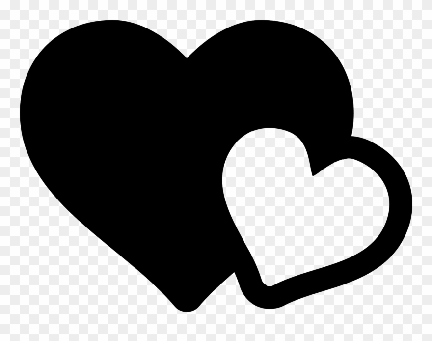 Love icon clipart clipart black and white stock The Icon Shows Two Heart Shapes - Love Icon Png Clipart ... clipart black and white stock