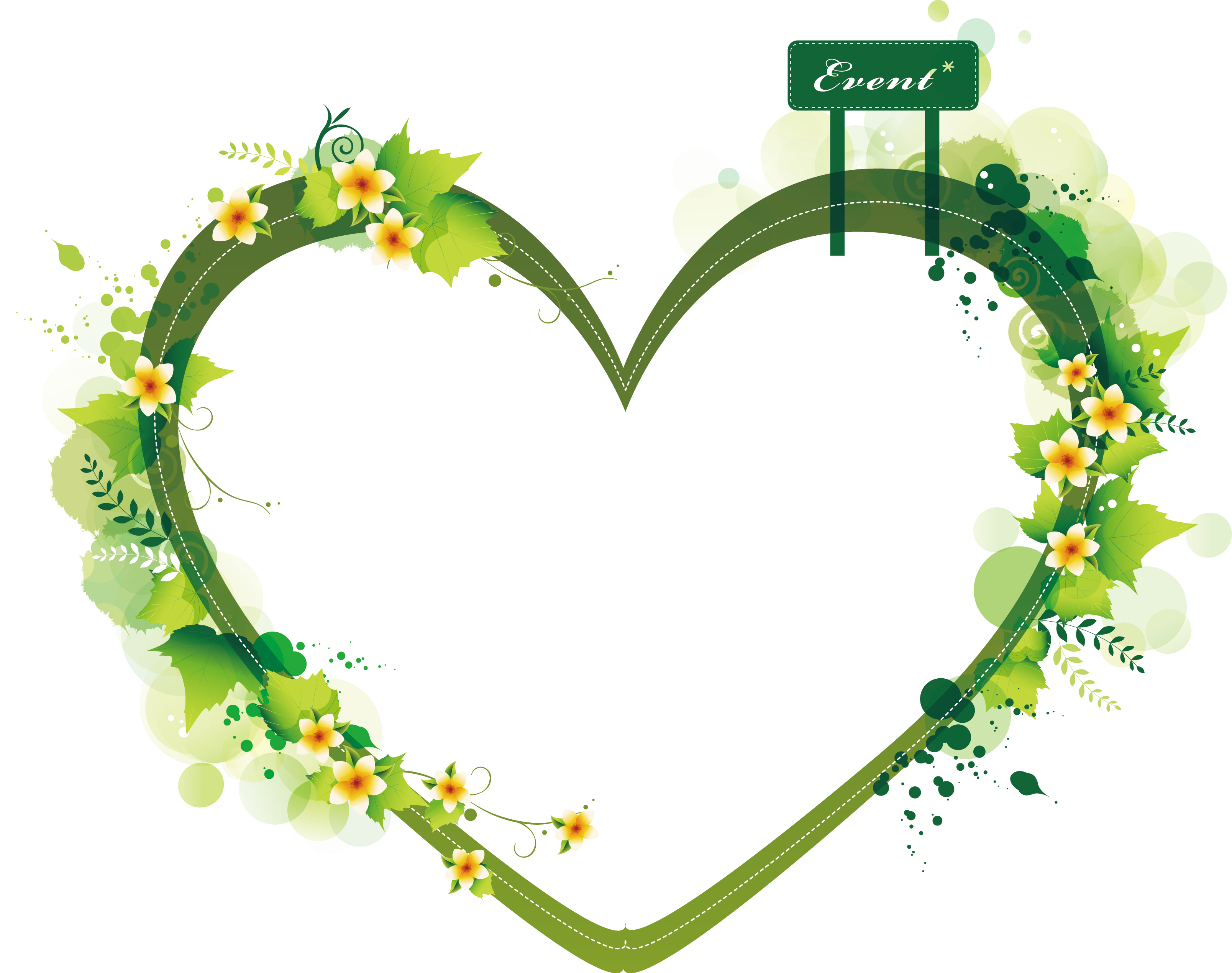 Heart shaped border clipart clip Euclidean vector Heart Clip art - Green heart - shaped summer plant ... clip