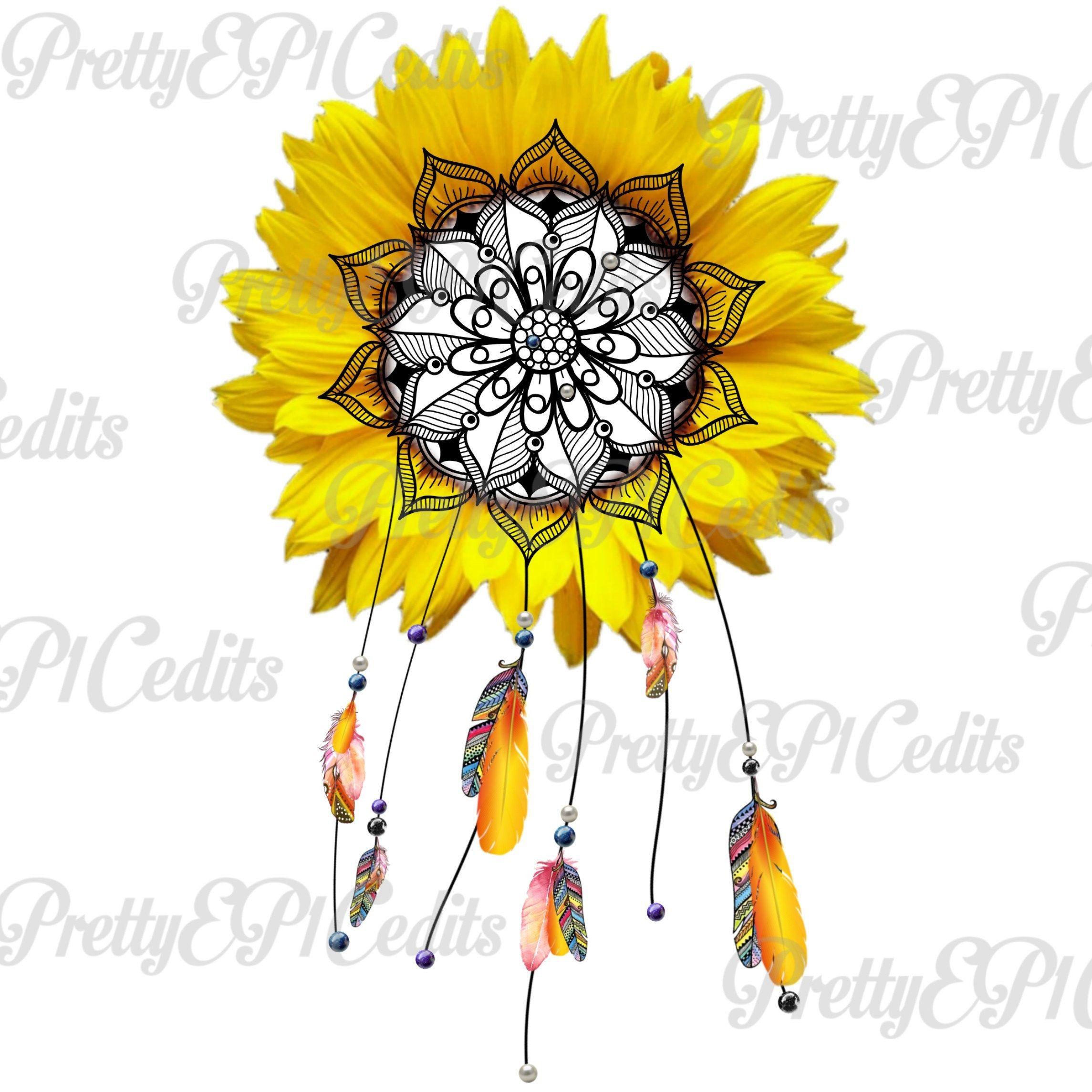 Heart shaped dreamcatcher autism clipart clipart free download Sunflower Boho mandala dreamcatcher, pearls and feathers ... clipart free download