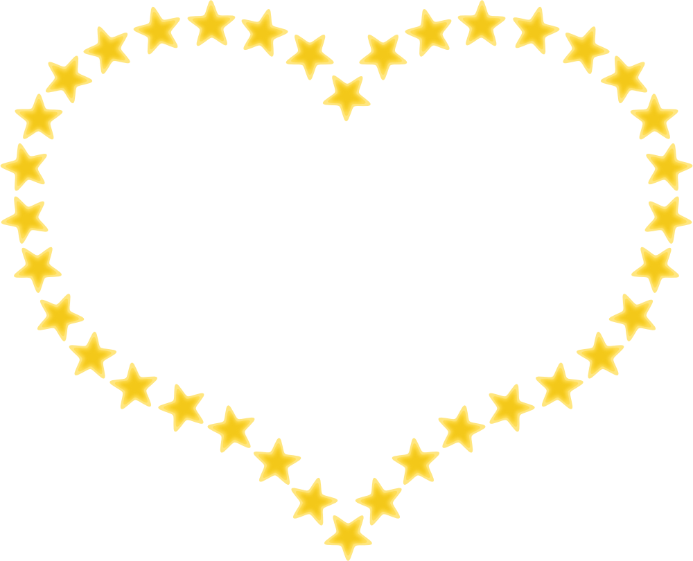 Heart shaped hands clipart transparent OnlineLabels Clip Art - Heart Shaped Border With Yellow Stars transparent