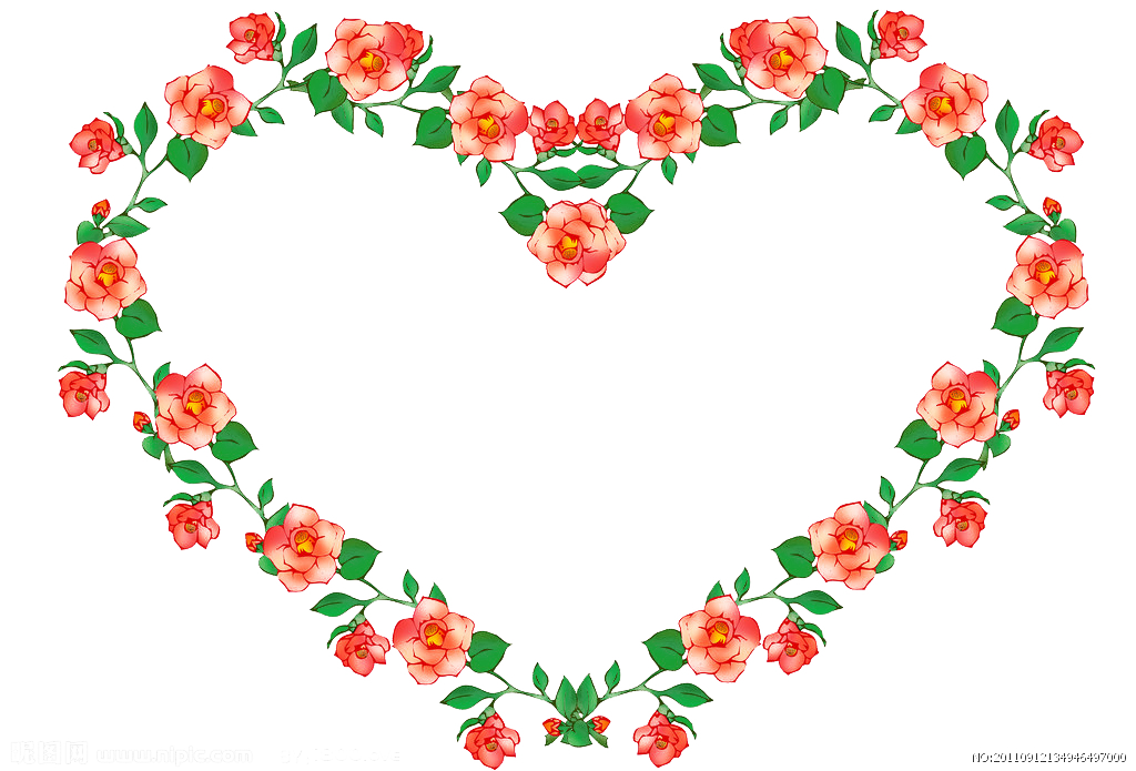 Heart shaped leaf clipart black and white library Download Heart - Heart-shaped floral frame 1024*695 transprent Png ... black and white library
