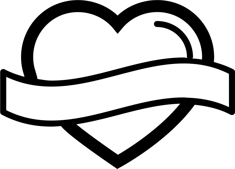 Heart shaped outline clipart graphic Heart Shape Outline With Banner Label Svg Png Icon Free Download ... graphic