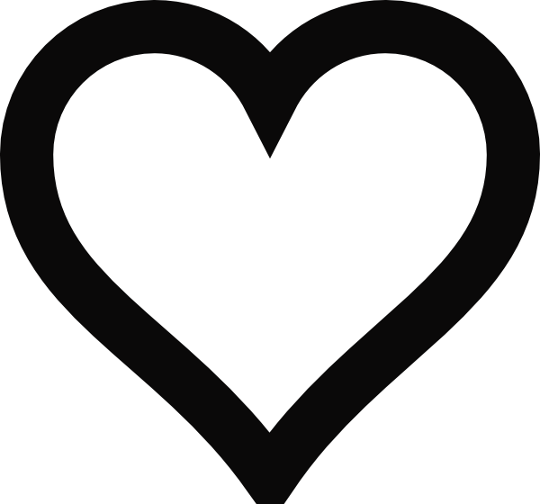 Heart shaped outline clipart banner black and white library Heart Outline Clip Art at Clker.com - vector clip art online ... banner black and white library