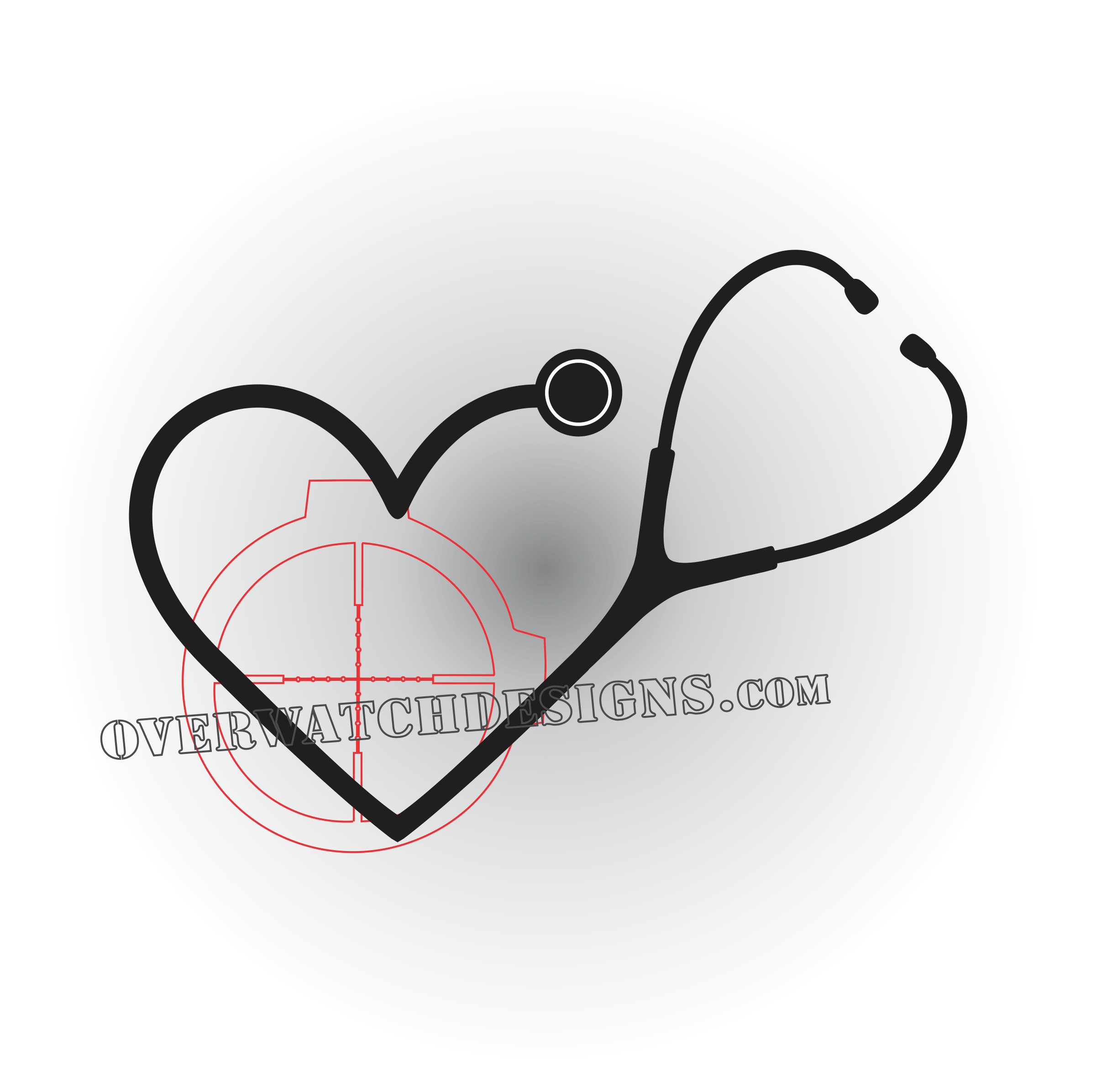 Heart stethoscope clipart black and white svg black and white download Stethoscope Decal - Overwatch Designs svg black and white download