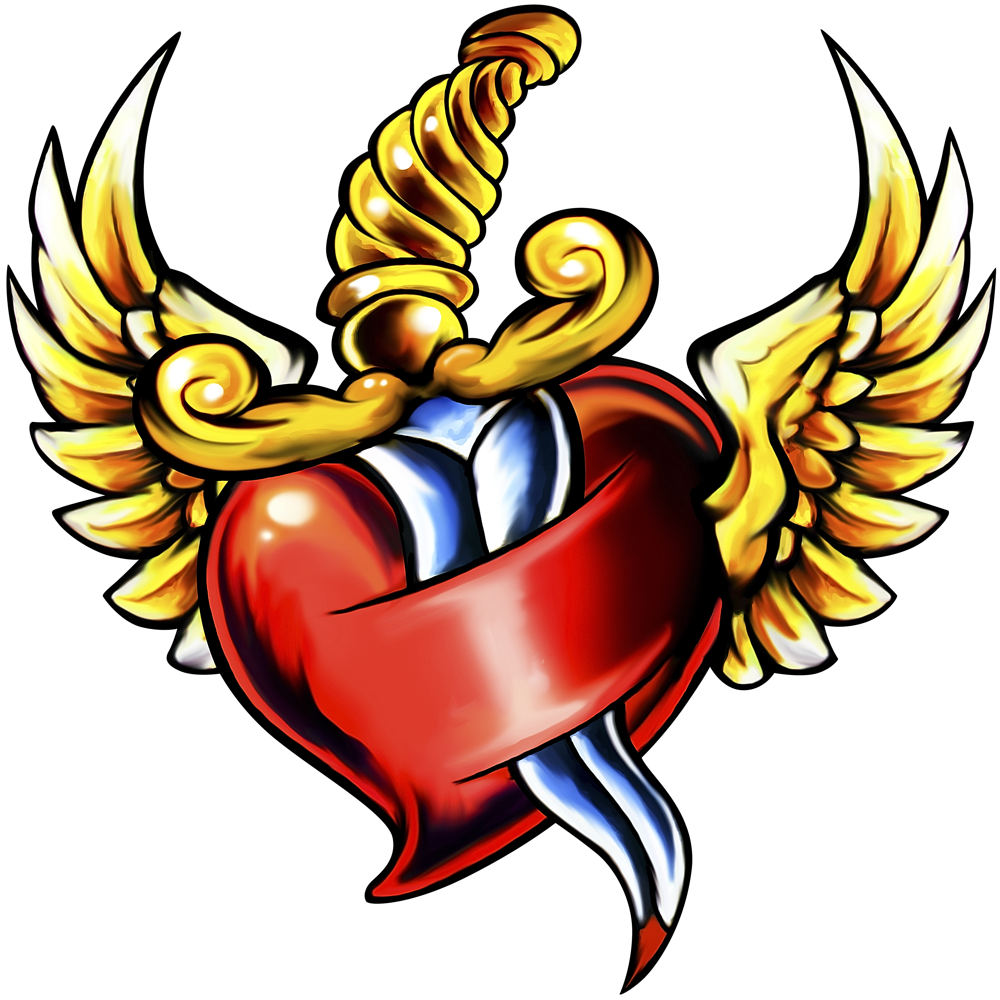 Dagger Heart Wings | Production Ready Artwork for T-Shirt Printing clip library library