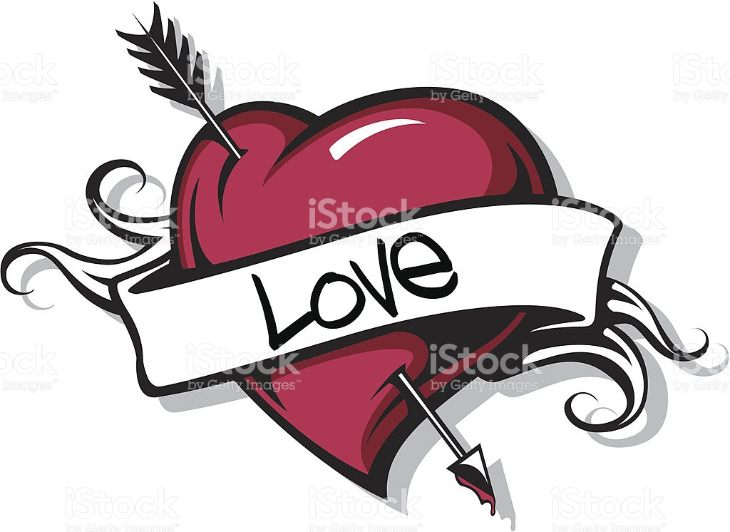 Heart with arrow clipart png black and white stock Heart With Arrow stock vector art 165042124 | iStock png black and white stock