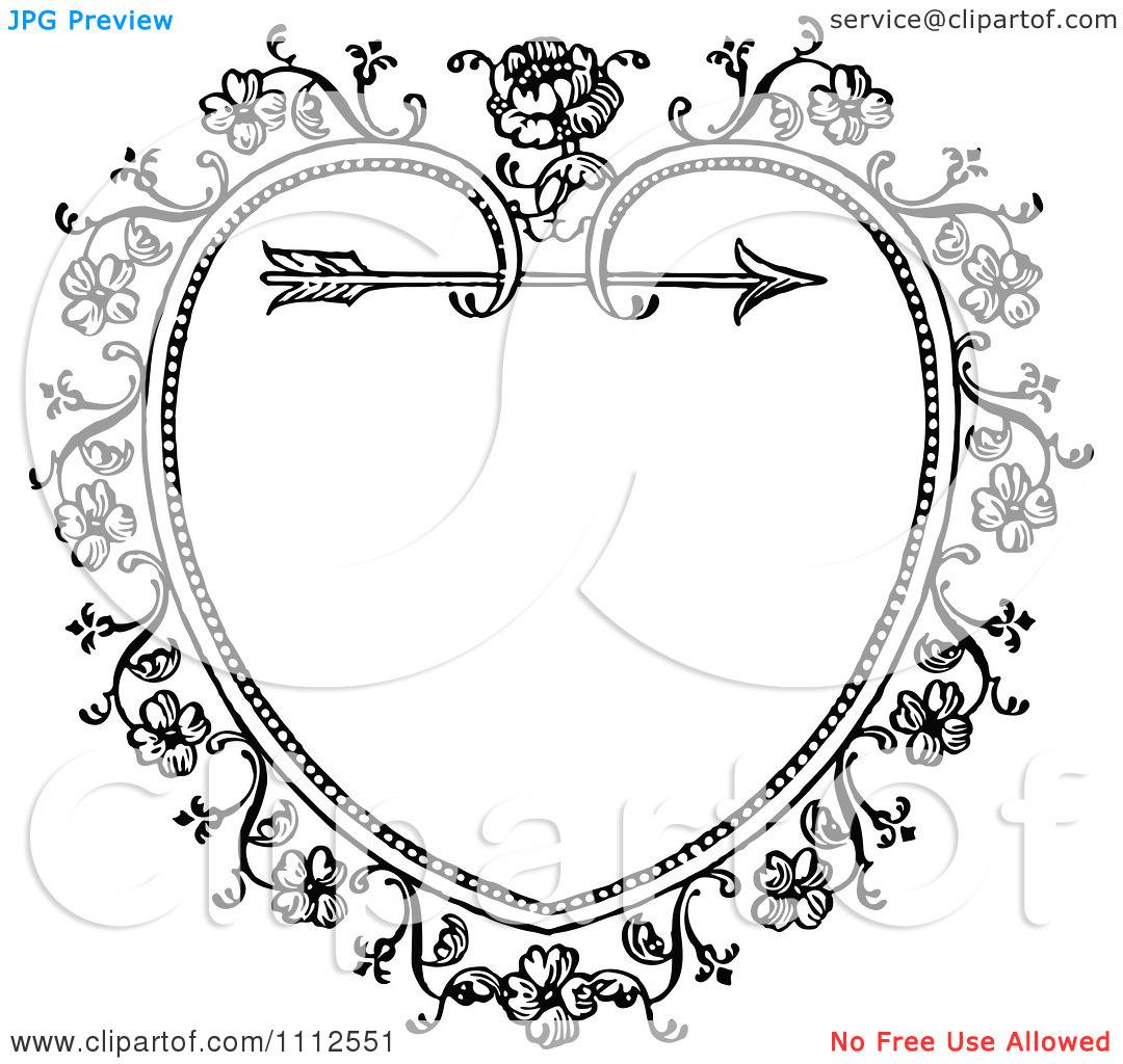 Heart with arrow clipart black clip art library library Clipart Black And White Ornate Vintage Floral Heart And Arrow ... clip art library library