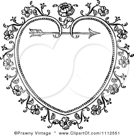 Heart with arrow clipart black clipart transparent library Clipart Black And White Ornate Vintage Floral Heart And Arrow ... clipart transparent library