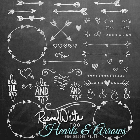 Heart with arrow clipart black transparent library Hearts & Arrows Clip Art Set 84 images Black by rachelwhitetoo ... transparent library