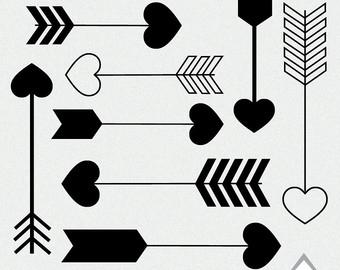 Heart with arrow clipart black clip transparent Black heart arrow clipart - ClipartFest clip transparent