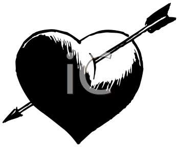 Heart with arrow clipart black black and white library Royalty Free Valentines Day Clip art, Valentines Day Clipart black and white library