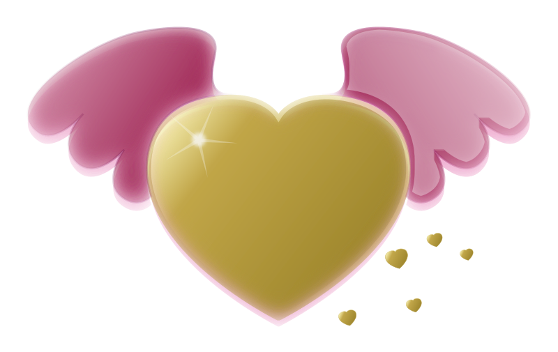Heart with wings clipart jpg free Clipart - Gold Heart with Pink Wings jpg free