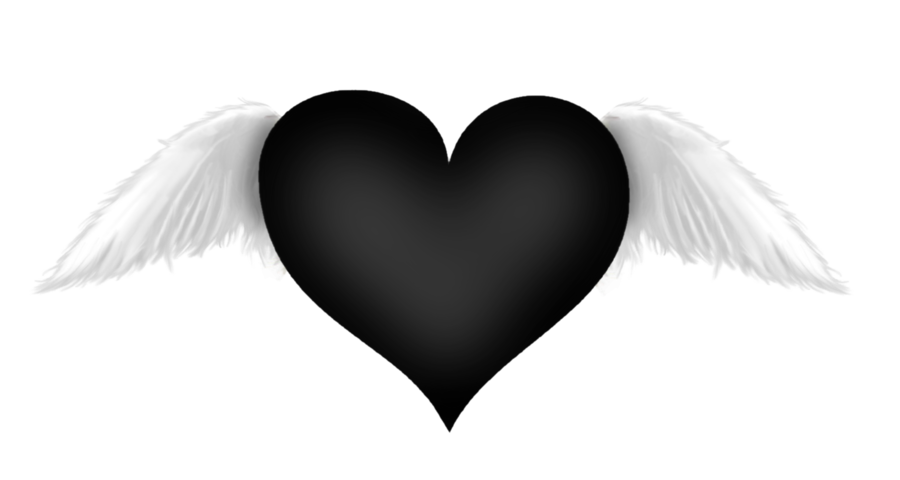 Heart with wings clipart black and white picture library download Black Heart with Wings Transparent Clipart | Gallery Yopriceville ... picture library download
